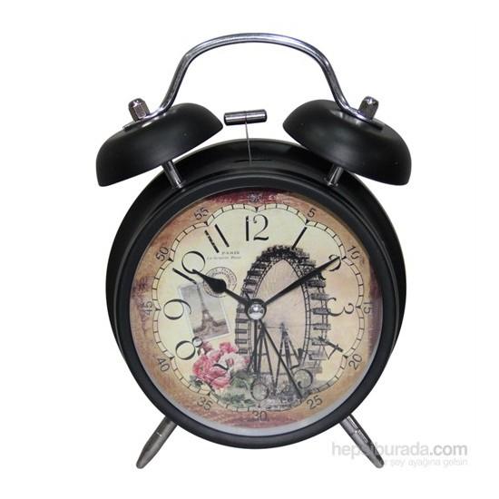 Galaxy Alarmlı Vintage Metal Masa Saati 2035-7