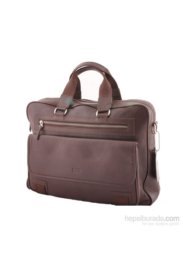 c8c55a97 Bond Leather Briefcase Brown Zippered front pocket 1364