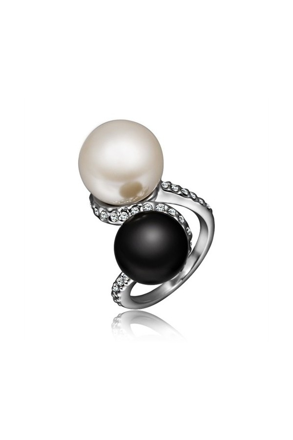 Byzinci  Gold Plated Black White Pearl Ring
