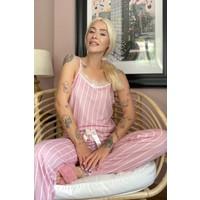 Pijama Evi Ince Çizgi Dantelli Ip Askılı Örme Kadın Pijama Takımı