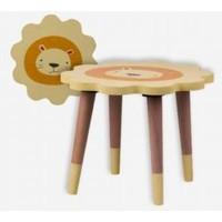 Piccolo Mondi Aslan Figürlü Ahşap Çocuk Taburesi (Sök-Tak Ayak Modelli)