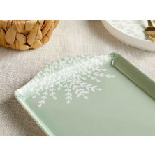 English Home Weensy Melamin Dikdörtgen Tepsi 38 x 18 cm Beyaz - Yeşil