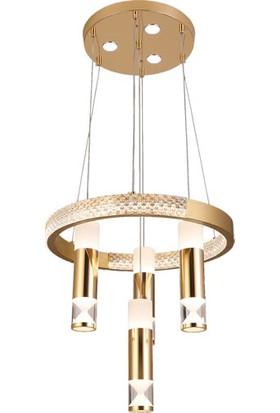 Karumistan Avize Modern LED Avize 3 Renk Yanan Sarkıt Kristal Taşlı Ledli Mutfak Salon Ofis Oturma Odası Tavan Avizesi