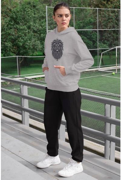 Angemiel Wear Lion Kadın Eşofman Takımı Gri Kapşonlu Sweatshirt Siyah Eşofman Altı