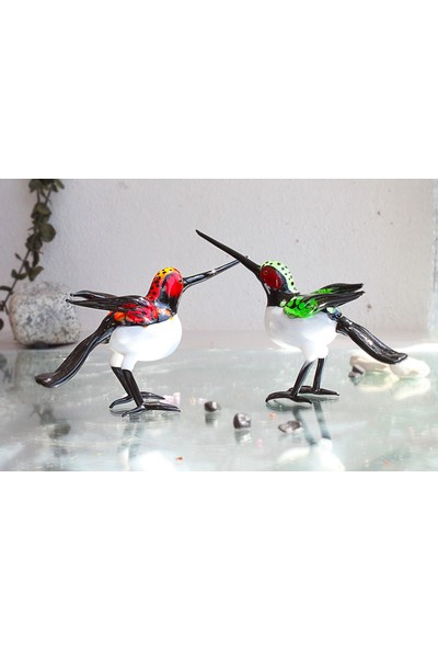 Adamodart Yeşil Sinek Kuşu Tekli Murano Cam Biblo
