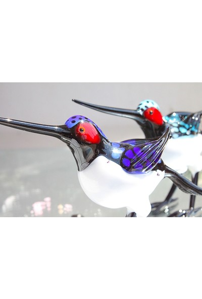 Adamodart Mavi Sinek Kuşu Tekli Murano Cam Biblo
