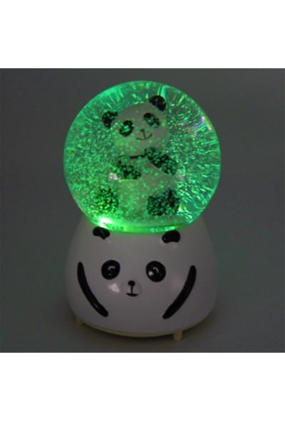 Hediye Sahibi Panda Orta Boy Işıklı Müzikli Kar Küresi