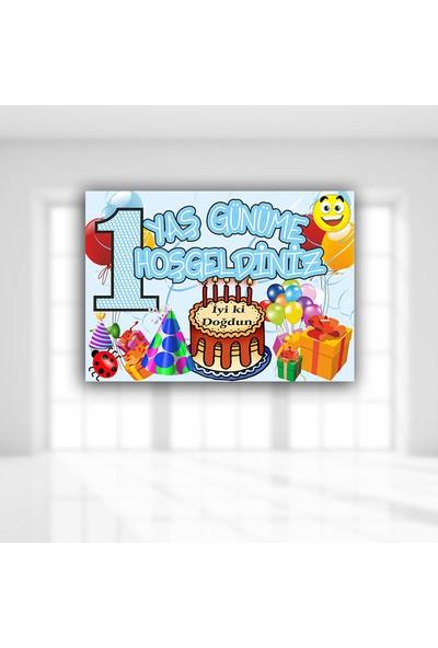 Süsle Baby Party 1 Yaş Günüme Hoşgeldiniz Afiş 70 x 50 cm Mavi