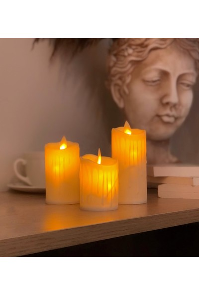 Lumenn Pilli Erimiş 3lü LED Mum Set-Dekorasyon Aydınlatma