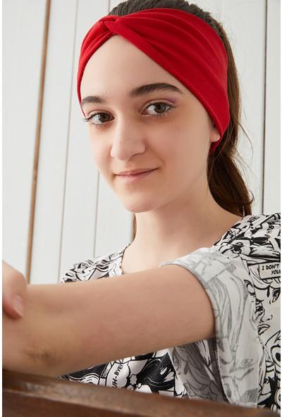 Kırmızı Çocuk Genç Bandana Saç Bandı Ekstra Yumuşak Esnek Pamuklu Penye