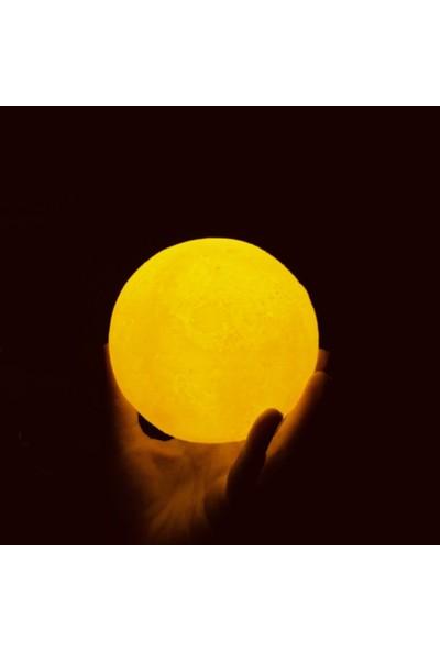 3D Ay Gece Lambası - Dekoratif LED Başucu Lambası ( Çap 12 cm )