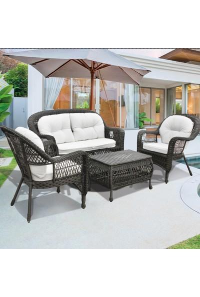 Bidesenal Rattan Koltuk Bahçe Sandalye Takımı 4 Parça Rattan Balkon Seti Suya Dayanaklı Rattan Örme