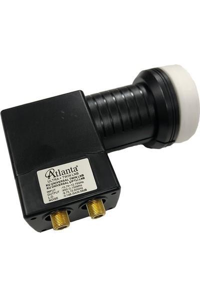 Atlanta Ultra+ Twin Çiftli Çift Çıkışlı 4K Full HD LNB (Gold Konnektör/2 Uydu Alıcıda Kullanım)
