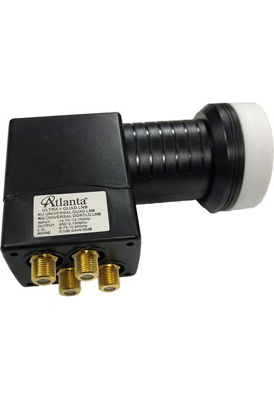 Atlanta Ultra+ Quad Dörtlü Dört Çıkışlı 4K Full HD LNB (Gold Konnektör/4 Uydu Alıcıda Kullanım)