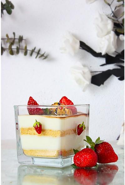 Adamodart El Yapımı Cam Çilek Figürlü 6'lı Magnolia Tatlı ve Dondurma Kasesi