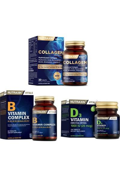 Nutraxin Kolajen Takviyesi 1050 Mg 30 Tablet +B Vitamin Complex 60 Tablet +D3 Vitamini 120 Tablet