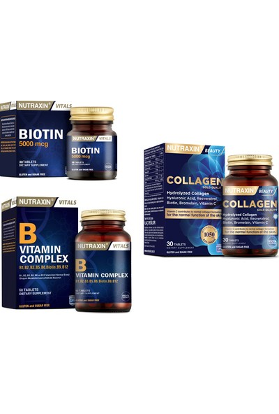 Nutraxin Kolajen Takviyesi 1050 Mg 30 Tablet + B Vitamin Complex 60 Tablet + Biotin 5000 Mcg 30 Tablet