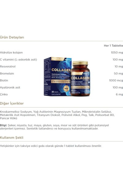 Nutraxin Kolajen Takviyesi 30 Tablet + B Vitamini 60 TABLET+B12 Vitamini 60 Dilaltı + D3 Vitamini 120 Tablet