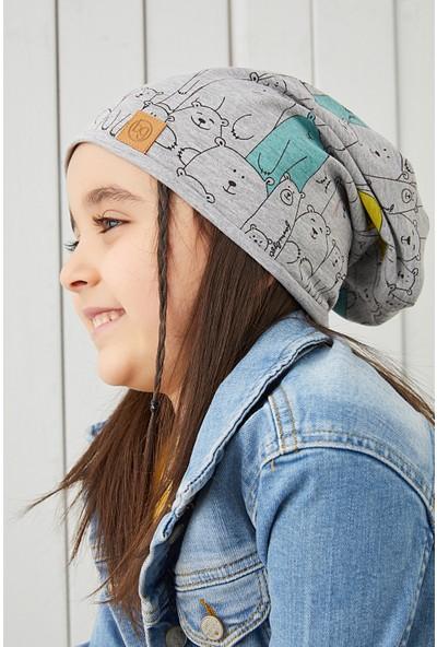 Babygiz Kız Çocuk Gri Figürlü Ip Detaylı 4 Mevsim Şapka Bere Buff -Yumuşak Doğal Penye
