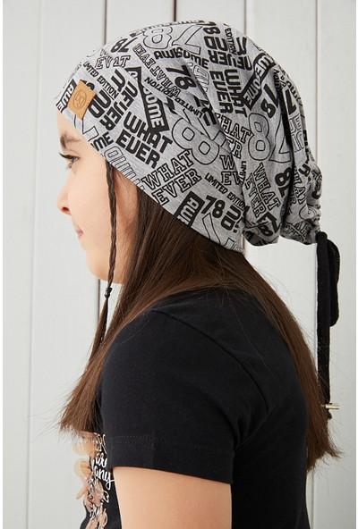 Kız Çocuk Gri Siyah Figürlü Ip Detaylı 4 Mevsim Şapka Bere Buff -Yumuşak Doğal Penye