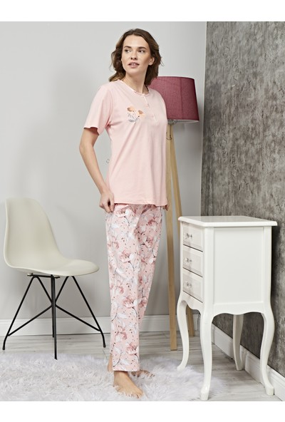Çelebi 319 Kadın Büyük Beden Uzun Alt Pijama Takım