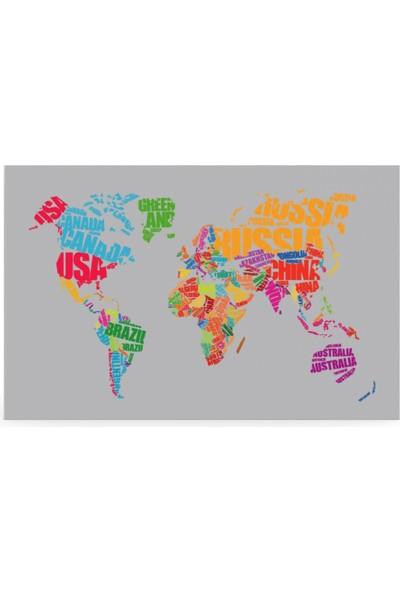 Treedi Art Dünya Haritası Dekoratif Tablo