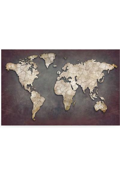 Treedi Art Eskitme Dünya Haritası Dekoratif Tablo