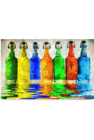 Treedi Art Renkli Cam Şişeler Dekoratif Tablo
