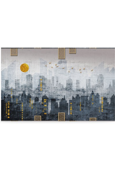 Treedi Art Gri Şehir Dekoratif Tablo