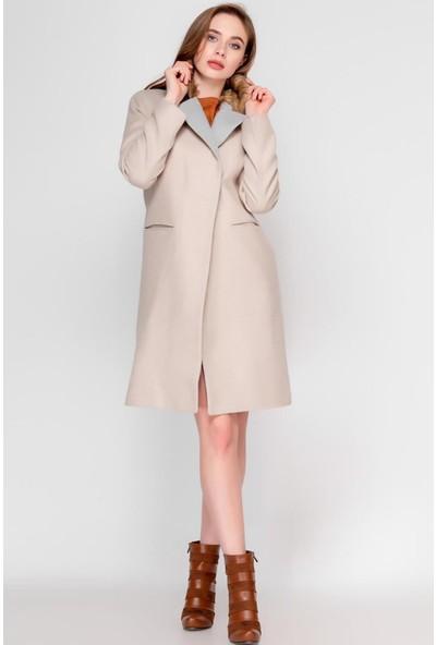 Madmext Mad Girls Taş Rengi Uzun Kürklü Kadın Kaban MG1181