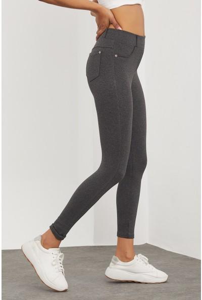 Meis Kadın Gri Cepli Pantolon Görünümlü Tayt