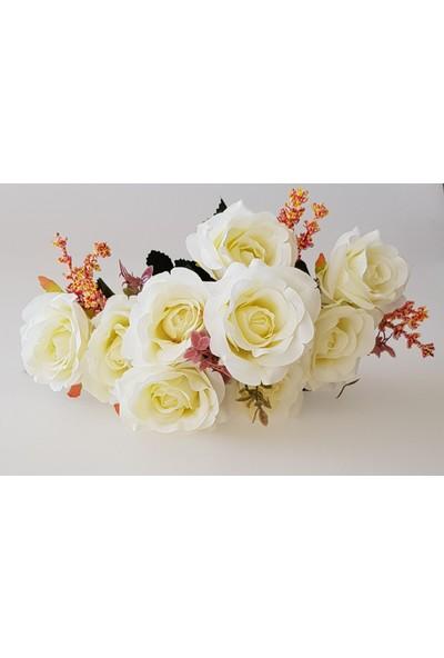 Adresiyapayçiçek Yapay Çiçek 9 Dal Lüx Iri Gül Demeti - Krem