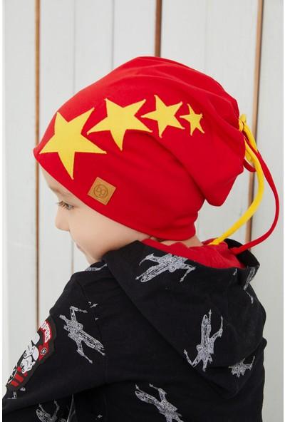 Babygiz Sarı Kırmızı Fanatik Çocuk Bebek Şapka Bere Yumuşak Çift Katlı Spor %100 Doğal Pamuklu Penye