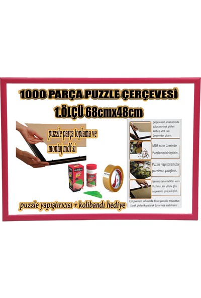 Efor Puzzle Çerçevesi 1000 Parça -Camsız - 1.ölçü 68 cm x 48 cm - Renk Fuşya -Çerçeve 23 mm