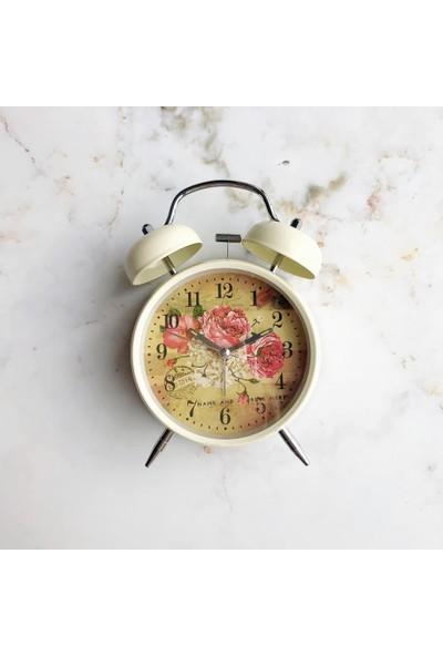 Oqqo Nostaljik Dekoratif Krem Renk Çalar Saat