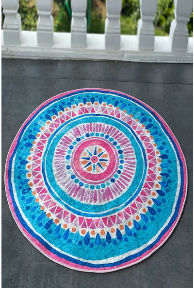 Reyndi Home Yıkanabilir Kaymaz Tabanlı Etnik Desen Mandala Şekilli Halı Manas Serisi