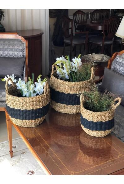 Sever Hasır Örgü Seagrass Esnek Dekoratif 3'lü Sepet Seti