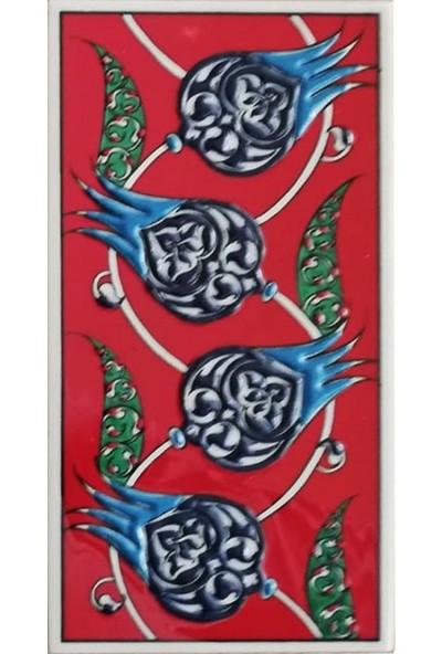 Armada Çini 10 x 20 cm Ed 210 Kırmızı Nar Çiçekli El Dekoru Çini Karo