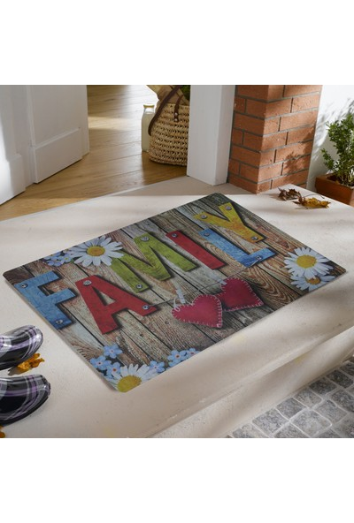 My Floor Myfloor Family Yazılı Kauçuk Kapı Önü Paspası