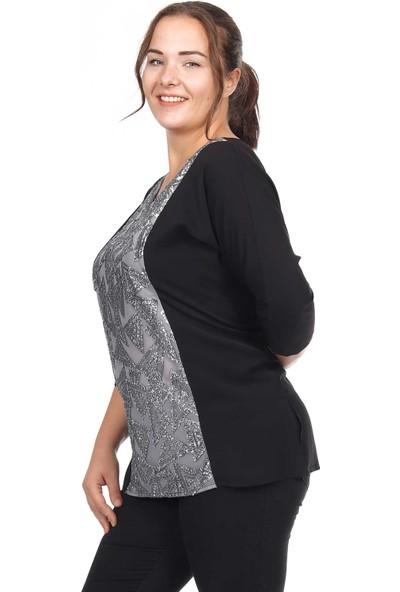 Fazza Siyah Gümüş Payet Detay Yarasa Kol Bluz
