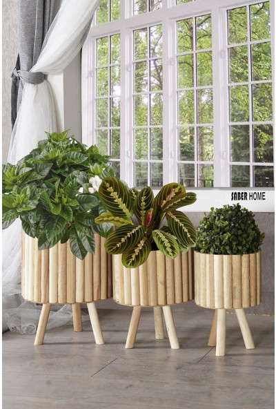 Saber Ahşap Yuvarlak Dekoratif Saksı Standı Çiçeklik Balkon Bahçe Ofis Salon Saksısı 3'lü