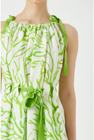 Fever Beli Büzgülü Ip Askılı Desenli Keten Elbise