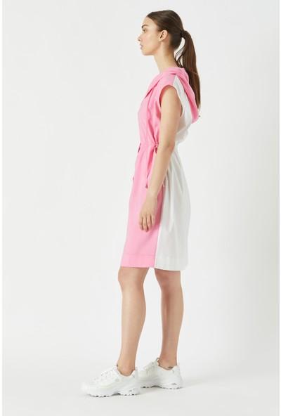 Fever Beli Büzgülü Kapüşonlu Arkası Desenli Spor Elbise