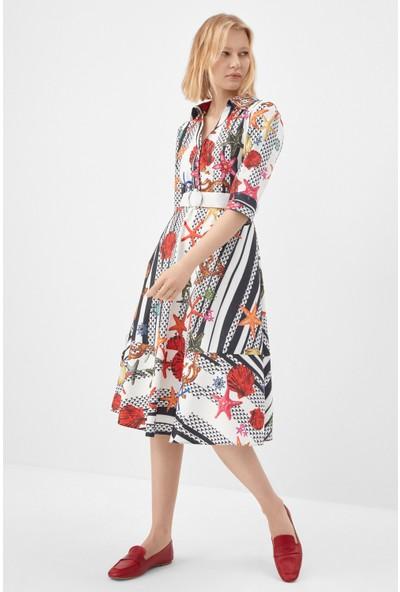 Fever Siyah Beyaz Desenli Marin Elbise