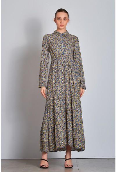 Düğmeli Çiçekli Uzun Elbise