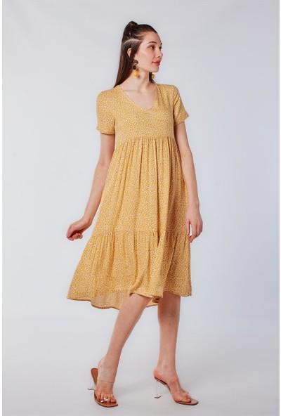 Papatya Desen Sarı Elbise