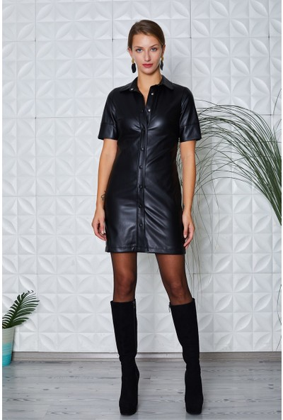 Siyah Deri Elbise