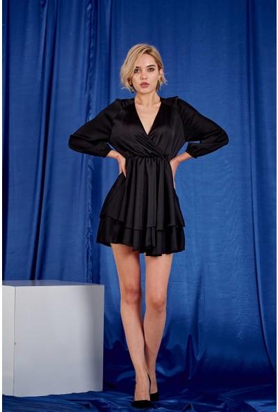 Kruvaze Siyah Elbise