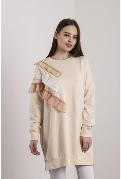 Fırfır Detaylı Bej Sweatshirt