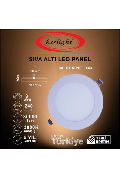 Heslight HS.010/3 3W Sıva Altı LED Panel 3000K Günışığı